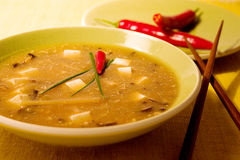 Hot and sour soup. A bowl of hot and sour soup Stock Photos