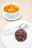 Hot and sour soup with Brown rice Stock Photo