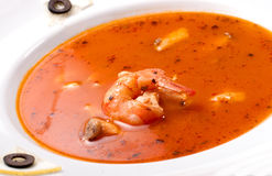 Hot and sour soup and shrimp in condensed water Stock Photos