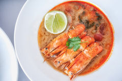 Hot and sour soup and shrimp in condensed water, Thai traditiona Royalty Free Stock Photography