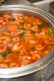 Hot and sour soup and shrimp in condensed water. Thai traditional food Royalty Free Stock Photography