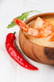 Hot and sour soup and shrimp Thai traditional food Tom Yum Goong Stock Images