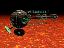 Hot Spaceship. Rendered view of spaceship exploring primeval planet Royalty Free Stock Image