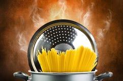 Hot spaghetti inside a pot Royalty Free Stock Photography