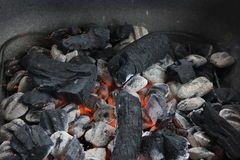 Hot sparking barbecue coals Royalty Free Stock Image