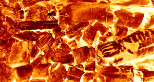 Hot Sparking Coals Burning in Barbecue Stock Photo