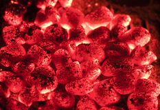 Hot sparking live-coals Stock Photo