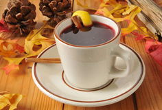 Hot spice wine. Or mulled cranberry juice on a rustic autumn table Stock Image