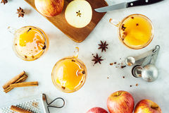 Hot Spiced Mulled Apple Cider Stock Photo