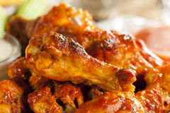 Hot and Spicey Buffalo Chicken Wings. With celery stock image