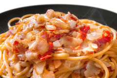 Hot and Spicy Bacon Spaghetti Stock Image