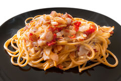 Hot and Spicy Bacon Spaghetti Stock Images