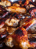 Hot spicy bbq honey chicken wings Stock Image