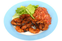 Hot Spicy BBQ Prawns with Salsa and Salad Stock Photography