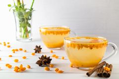 Hot spicy beverage with sea buckthorn in glass cups with fresh raw sea buckthorn berries. And cinnamon sticks, anise stars Stock Image