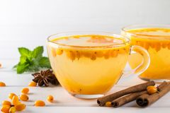 Hot spicy beverage with sea buckthorn in glass cups with fresh raw sea buckthorn berries. And cinnamon sticks, anise stars Stock Photography