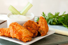 Hot and Spicy Buffalla Wings. With Blue Cheese Dipping Sauce Royalty Free Stock Photo