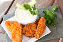 Hot and Spicy Buffalla Wings. With Blue Cheese Dipping Sauce stock images