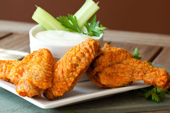 Hot and Spicy Buffalla Wings. With Blue Cheese Dipping Sauce royalty free stock image