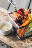 Hot and Spicy Buffalo Style Chicken Wings Stock Photos