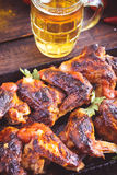 Hot and spicy chicken wings closeup Stock Photo