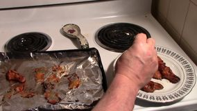 Hot and spicy chicken wings. stock video