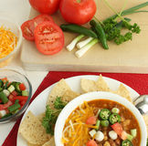 Hot Spicy Chili with Fresh Veggies. Provide warmth on a winter day stock image
