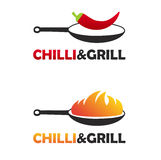 Hot and spicy chinese food logo set with two black pans. Pan with fire and pan with chili pepper. Royalty Free Stock Photos
