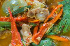Hot Spicy curry with pork Stock Photo