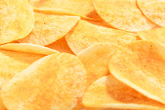 Hot and spicy flavor crispy potato chips Royalty Free Stock Image