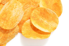 Hot and spicy flavor crispy potato chips Stock Photos