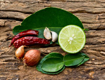 Hot and spicy food ingredient for thai food on wood Royalty Free Stock Photos