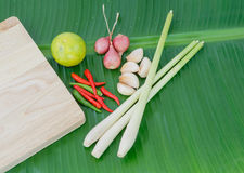 Hot and spicy ingredient on banana leaf of thai food. Hot and spicy ingredient of thai food Royalty Free Stock Images