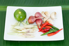 Hot and spicy ingredient on banana leaf of thai food. Hot and spicy ingredient of thai food Stock Photo