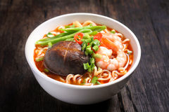 Hot and spicy instant noodle Stock Photos