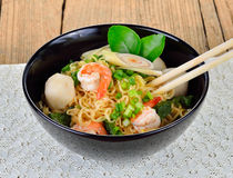 Hot and spicy instant noodle with shrimp. And vegetable Royalty Free Stock Photography