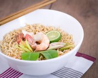 Hot and spicy instant noodle. Royalty Free Stock Images