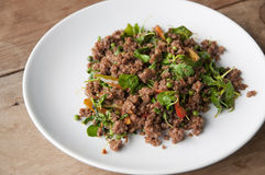 Hot and spicy minced beef with chili and basil. Royalty Free Stock Images