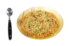 Hot Spicy Noodles Bowl Spoon Royalty Free Stock Photography