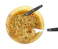 Hot Spicy Noodles Fork Spoon Stock Images