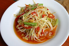 Hot and spicy papaya salad. In Thailand Royalty Free Stock Images