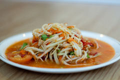 Hot and spicy papaya salad Royalty Free Stock Photo