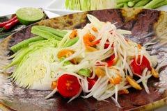 Hot and spicy papaya salad Stock Image