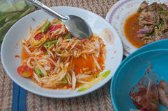 Hot and spicy papaya salad Royalty Free Stock Images