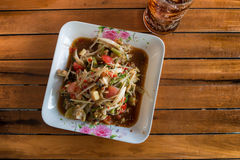 Hot and spicy papaya salad on top view, Thai style Stock Image