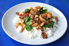 Hot and spicy pork with basil Stock Photo