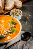 Hot and spicy pumpkin  soup Stock Images