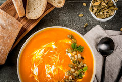 Hot and spicy pumpkin  soup Stock Image