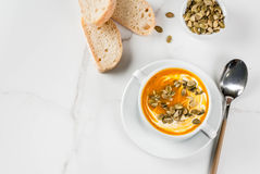 Hot and spicy pumpkin  soup Stock Photo