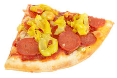 Hot Spicy Slice of Pepperoni and Pepper Fast Food Pizza Royalty Free Stock Photo